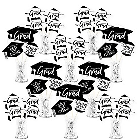 Black and White Grad - Best is Yet to Come - 2020 Black and White Graduation Party Centerpiece Sticks - Showstopper Table Toppers - 35 Pieces