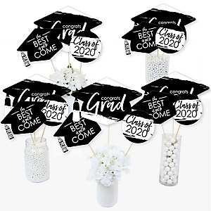 Black and White Grad - Best is Yet to Come - 2020 Black and White Graduation Party Centerpiece Sticks - Table Toppers - Set of 15