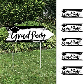 Black and White Grad - Best is Yet to Come - Arrow Graduation Party Direction Signs - Double Sided Outdoor Yard Signs - Set of 6