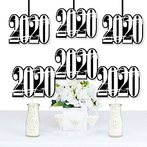 Black and White Grad - Best is Yet to Come - 2020 Decorations DIY Black and White Graduation Party Essentials - Set of 20