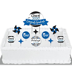 Blue Grad - Best is Yet to Come - 2020 Royal Blue Graduation Party Cake Decorating Kit - Congrats Graduate Cake Topper Set - 11 Pieces