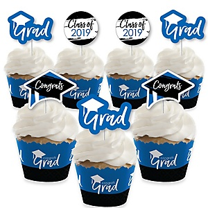 Blue Grad - Best is Yet to Come - Cupcake Decoration - 2019 Royal Blue Graduation Party Cupcake Wrappers and Treat Picks Kit - Set of 24