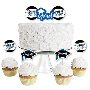 Blue Grad - Best is Yet to Come - Dessert Cupcake Toppers - Royal Blue 2019 Graduation Party Clear Treat Picks - Set of 24