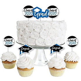 Blue Grad - Best is Yet to Come - Dessert Cupcake Toppers - Royal Blue 2020 Graduation Party Clear Treat Picks - Set of 24