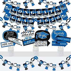 Blue Grad - Best is Yet to Come - Banner and Photo Booth Decorations - 2020 Royal Blue Graduation Party Supplies Kit - Doterrific Bundle