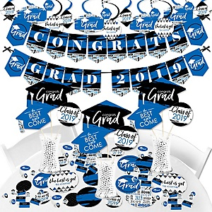Blue Grad - Best is Yet to Come - 2019 Royal Blue Graduation Party Supplies - Banner Decoration Kit - Fundle Bundle