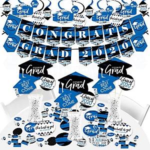 Blue Grad - Best is Yet to Come - 2020 Royal Blue Graduation Party Supplies - Banner Decoration Kit - Fundle Bundle