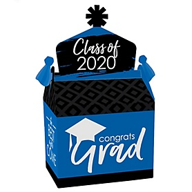 Blue Grad - Best is Yet to Come - Treat Box Party Favors - 2020 Royal Blue Graduation Party Goodie Gable Boxes - Set of 12