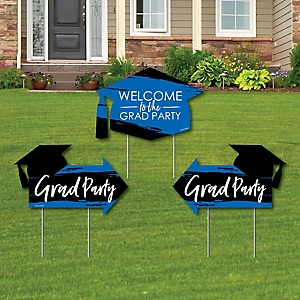 Blue Grad - Best is Yet to Come - 2 Royal Blue Graduation Party Arrows and 1 Welcome / Thank You Lawn Sign - Double Sided Grad Yard Sign Set - 3 Pieces