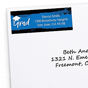 Blue Grad - Best is Yet to Come - Personalized Graduation Return Address Labels - 30 ct