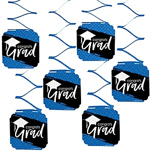 Blue Grad - Best is Yet to Come - Graduation Party Hanging Decorations - 6 ct
