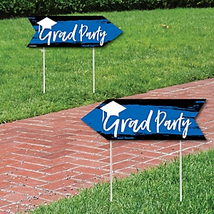 Blue Grad - Best is Yet to Come - Graduation Party Sign Arrow - Double Sided Directional Yard Signs - Set of 2