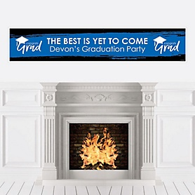 Blue Grad - Best is Yet to Come - Personalized Blue Graduation Party Banner