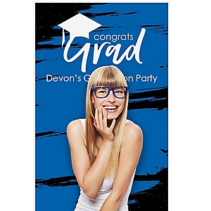 """Blue Grad - Best is Yet to Come - Personalized Graduation Party Photo Booth Backdrops - 36"""" x 60"""""""