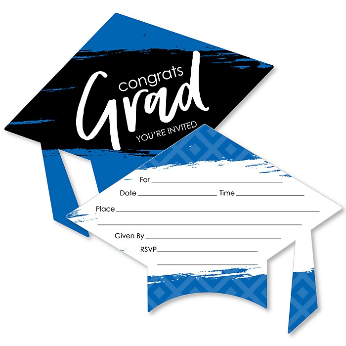 Blue Grad - Best is Yet to Come - Shaped Fill-In Invitations - Graduation Party Invitation Cards with Envelopes - Set of 12