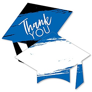 Blue Grad - Best is Yet to Come - Shaped Thank You Cards - Royal Blue Graduation Party Thank You Note Cards with Envelopes - Set of 12