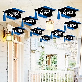 Hanging Blue Grad - Best is Yet to Come - Outdoor Graduation Party Hanging Porch & Tree Yard Decorations - 10 Pieces