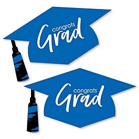 Blue Grad - Best is Yet to Come - Graduation Hat Decorations DIY Large Royal Blue Graduation Party Essentials - 20 Count