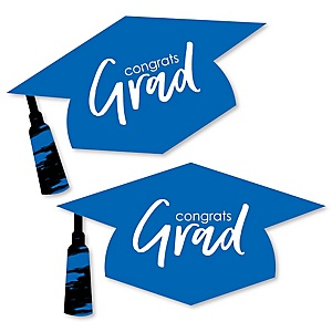 Blue Grad - Best is Yet to Come - Graduation Hat Decorations DIY Large Royal Blue Graduation Party Essentials - 20 Count