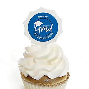 Blue Grad - Best is Yet to Come - Personalized Graduation Cupcake Pick and Sticker Kit - 12 ct