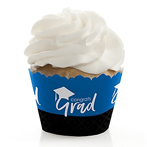 Blue Grad - Best is Yet to Come - Graduation Decorations - Party Cupcake Wrappers - Set of 12