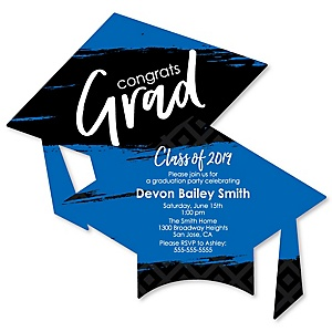 Blue Grad - Best is Yet to Come - Personalized 2019 Graduation Invitations - Set of 12