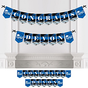 Blue Grad - Best is Yet to Come - Personalized 2020 Graduation Party Bunting Banner & Decorations