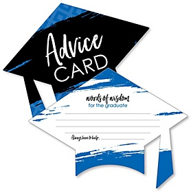 Blue Grad - Best is Yet to Come - Royal Blue Grad Cap Wish Card Graduation Party Activities - Shaped Advice Cards Games - Set of 20