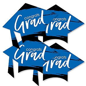 Blue Grad - Best is Yet to Come - Grad Cap Decorations DIY Royal Blue Graduation Party Essentials - Set of 20
