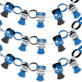 Blue Grad - Best is Yet to Come - 90 Chain Links and 30 Paper Tassels Decoration Kit - 2020 Royal Blue Graduation Party Paper Chains Garland - 21 feet