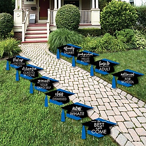 Blue Grad - Best is Yet to Come - Grad Cap Lawn Decorations - Outdoor Blue Graduation Party Yard Decorations - 10 Piece