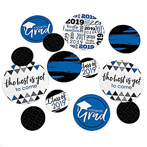 Blue Grad - Best is Yet to Come - 2019 Graduation Party Giant Circle Confetti - Blue Grad Party Decorations - Large Confetti 27 Count