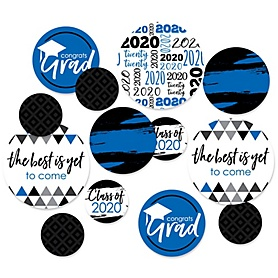 Blue Grad - Best is Yet to Come - 2020 Graduation Party Giant Circle Confetti - Blue Grad Party Decorations - Large Confetti 27 Count