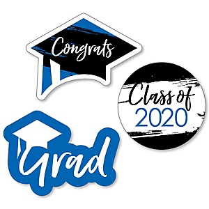 Blue Grad - Best is Yet to Come - DIY Shaped 2020 Graduation Party Paper Cut-Outs - 24 ct