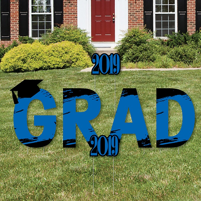 GRAD - Blue Grad - Best is Yet to Come - Yard Sign Outdoor Lawn Decorations - Blue 2019 Graduation Party Yard Signs