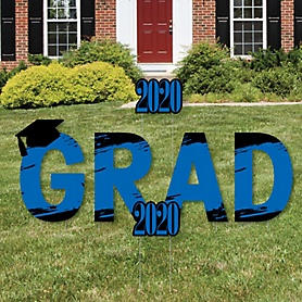 GRAD - Blue Grad - Best is Yet to Come - Yard Sign Outdoor Lawn Decorations - Blue 2020 Graduation Party Yard Signs