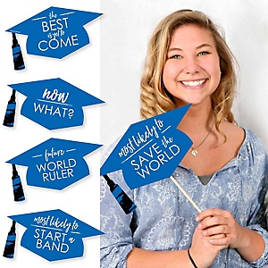 Hilarious Blue Grad - Best is Yet to Come - 20 Piece Blue Graduation Party Photo Booth Props Kit