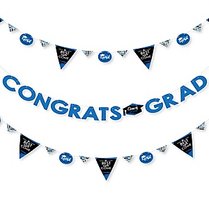 Blue Grad - Best is Yet to Come - 2019 Royal Blue Graduation Party Letter Banner Decoration - 36 Banner Cutouts and Congrats Grad Banner Letters
