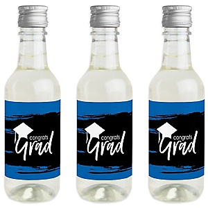 Blue Grad - Best is Yet to Come - Mini Wine and Champagne Bottle Label Stickers - Royal Blue Graduation Party Favor Gift - Set of 16