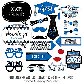 Blue Grad - Best is Yet to Come - 20 Piece 2020 Graduation Party Photo Booth Props Kit