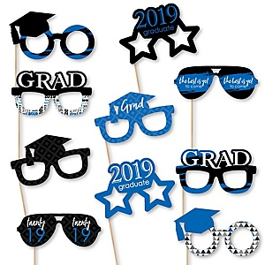Blue Grad Glasses - Best is Yet to Come - Blue 2019 Paper Card Stock Graduation Party Photo Booth Props Kit - 10 Count