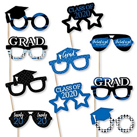 Blue Grad Glasses - Best is Yet to Come - Blue 2020 Paper Card Stock Graduation Party Photo Booth Props Kit - 10 Count