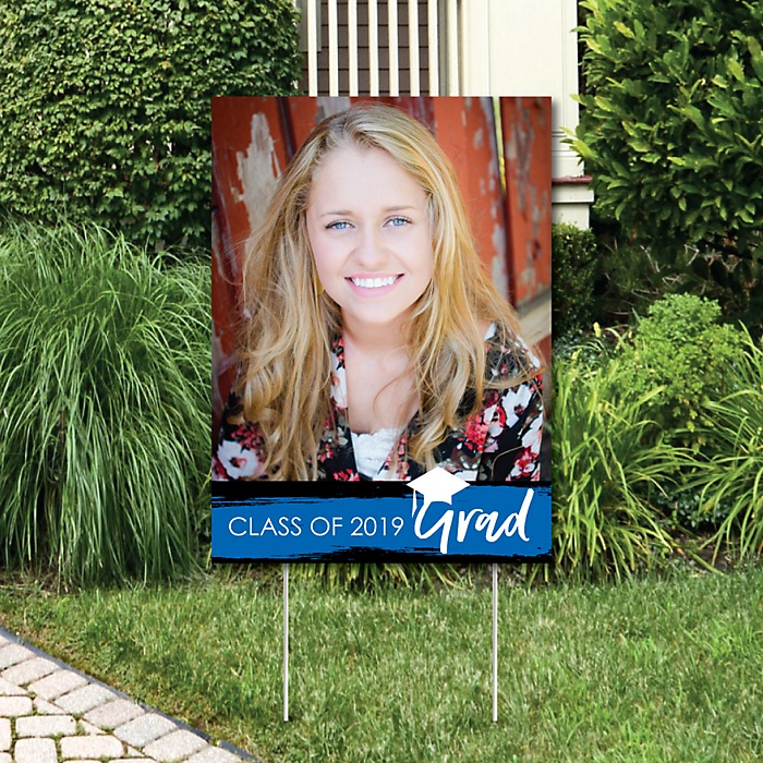 Blue Grad - Best is Yet to Come - Photo Yard Sign - Blue 2019 Graduation Party Decorations