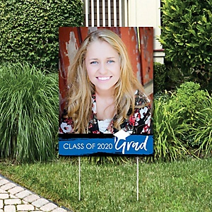 Blue Grad - Best is Yet to Come - Photo Yard Sign - Blue 2020 Graduation Party Decorations