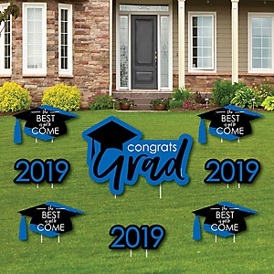 Blue Grad - Best is Yet to Come - Yard Sign & Outdoor Lawn Decorations – 2019 Graduation Party Yard Signs - Set of 8