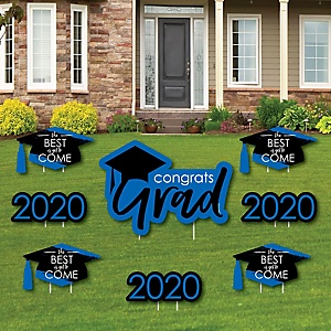 Blue Grad - Best is Yet to Come - Yard Sign & Outdoor Lawn Decorations – 2020 Graduation Party Yard Signs - Set of 8