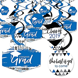 Blue Grad - Best is Yet to Come - 2019 Royal Blue Graduation Party Hanging Decor - Party Decoration Swirls - Set of 40
