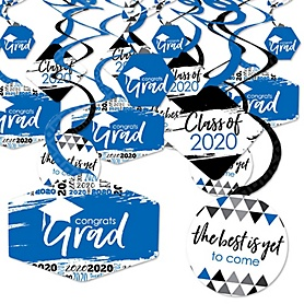Blue Grad - Best is Yet to Come - 2020 Royal Blue Graduation Party Hanging Decor - Party Decoration Swirls - Set of 40