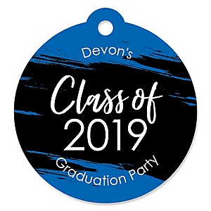 Blue Grad - Best is Yet to Come - Round Personalized 2019 Graduation Party Die-Cut Tags - 20 ct