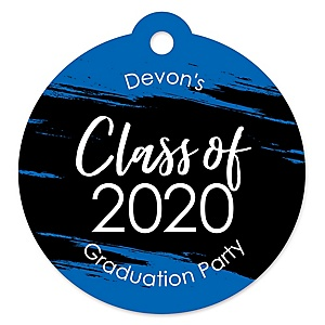 Blue Grad - Best is Yet to Come - Round Personalized 2020 Graduation Party Die-Cut Tags - 20 ct